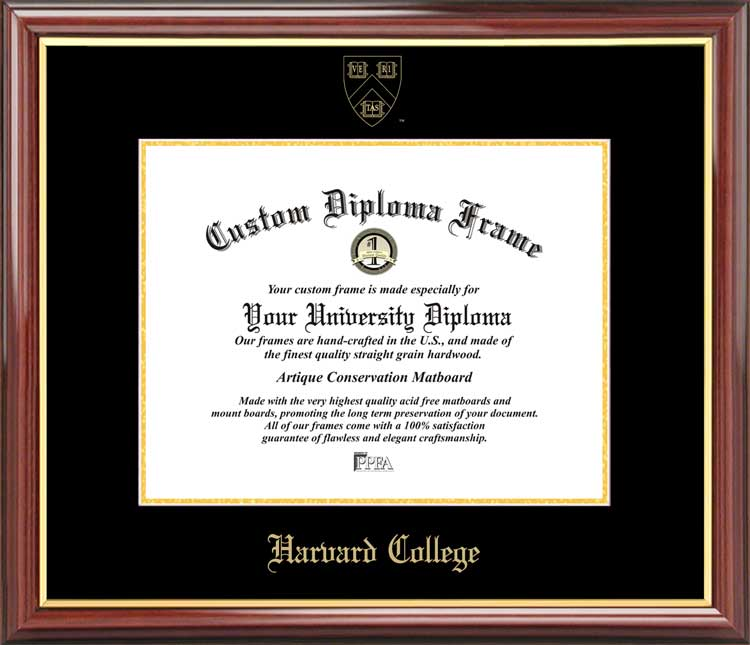 College - Harvard College  - Embossed Seal - Mahogany Gold Trim - Diploma Frame