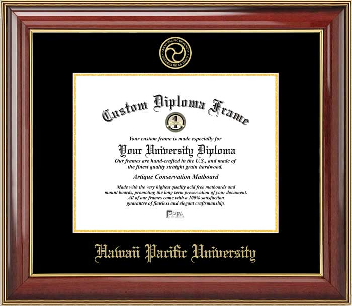 College - Hawaii Pacific University Sharks - Embossed Seal - Mahogany Gold Trim - Diploma Frame