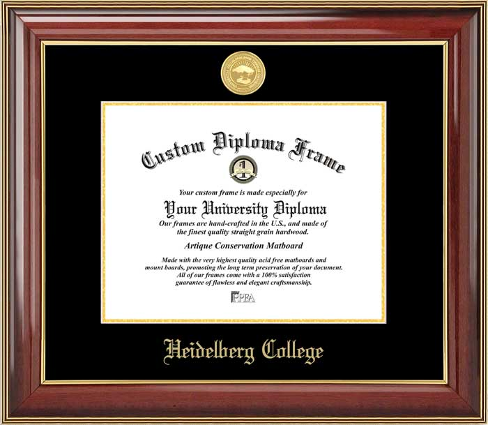College - Heidelberg College  - Gold Medallion - Mahogany Gold Trim - Diploma Frame