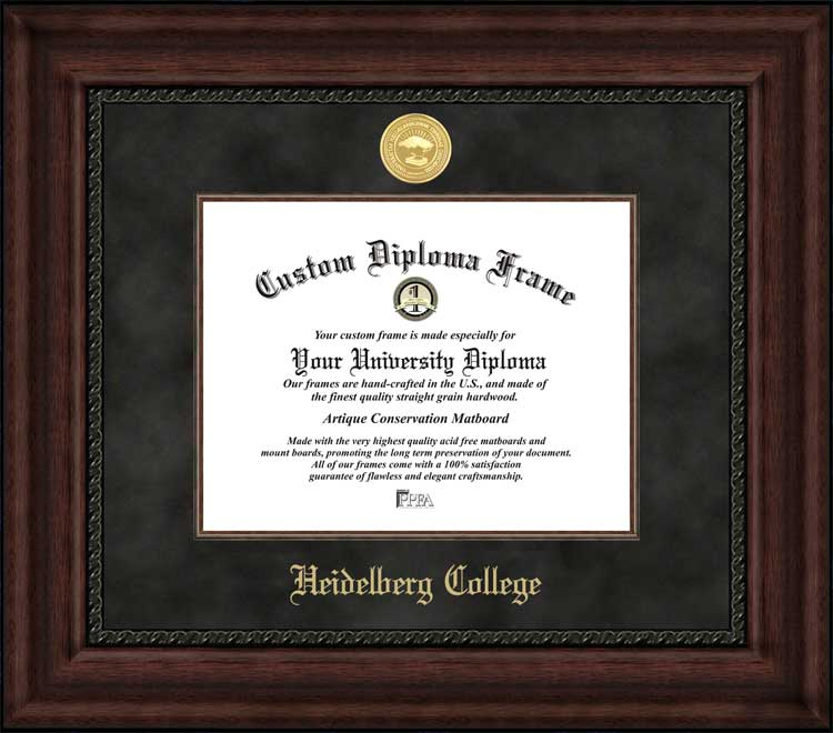 College - Heidelberg College  - Gold Medallion - Suede Mat - Mahogany - Diploma Frame
