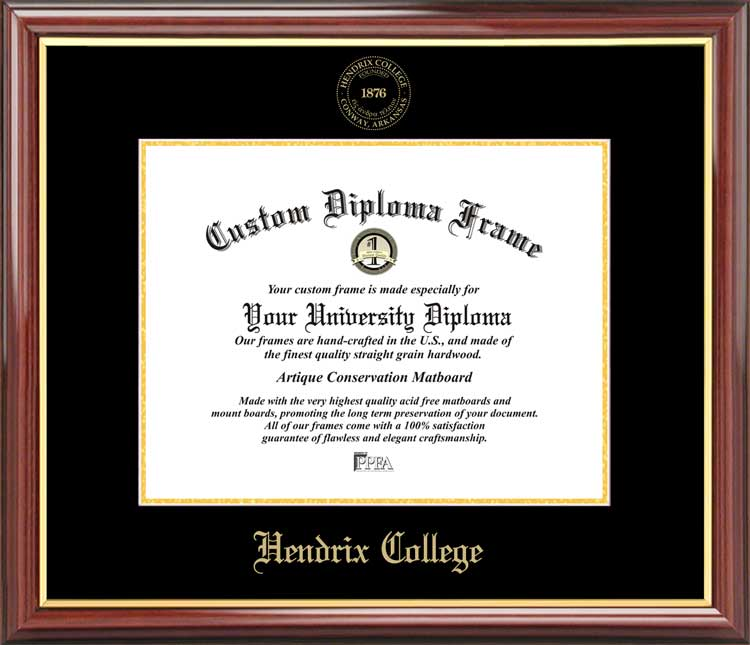 College - Hendrix College Warriors - Embossed Seal - Mahogany Gold Trim - Diploma Frame