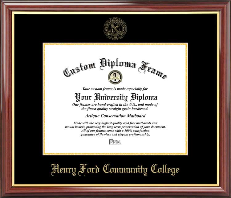 College - Henry Ford Community College Hawks - Embossed Seal - Mahogany Gold Trim - Diploma Frame