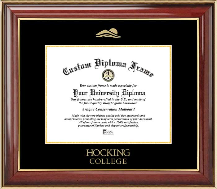 College - Hocking College Hawks - Embossed Seal - Mahogany Gold Trim - Diploma Frame