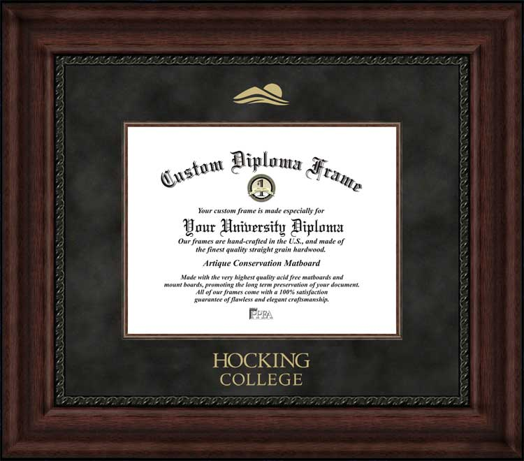 College - Hocking College Hawks - Embossed Seal - Suede Mat - Mahogany - Diploma Frame