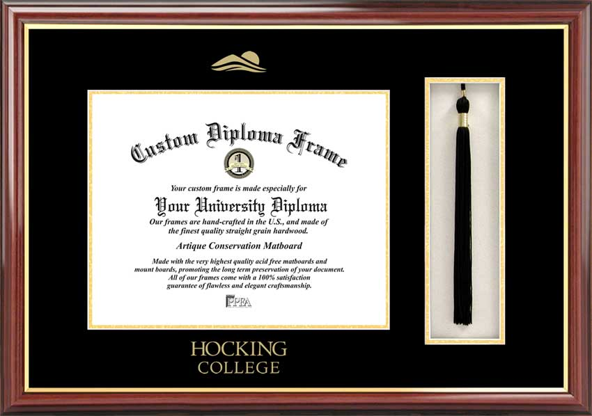 College - Hocking College Hawks - Embossed Seal - Tassel Box - Mahogany - Diploma Frame