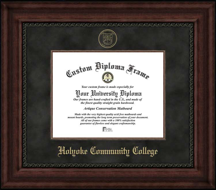 College - Holyoke Community College Cougars - Embossed Seal - Suede Mat - Mahogany - Diploma Frame