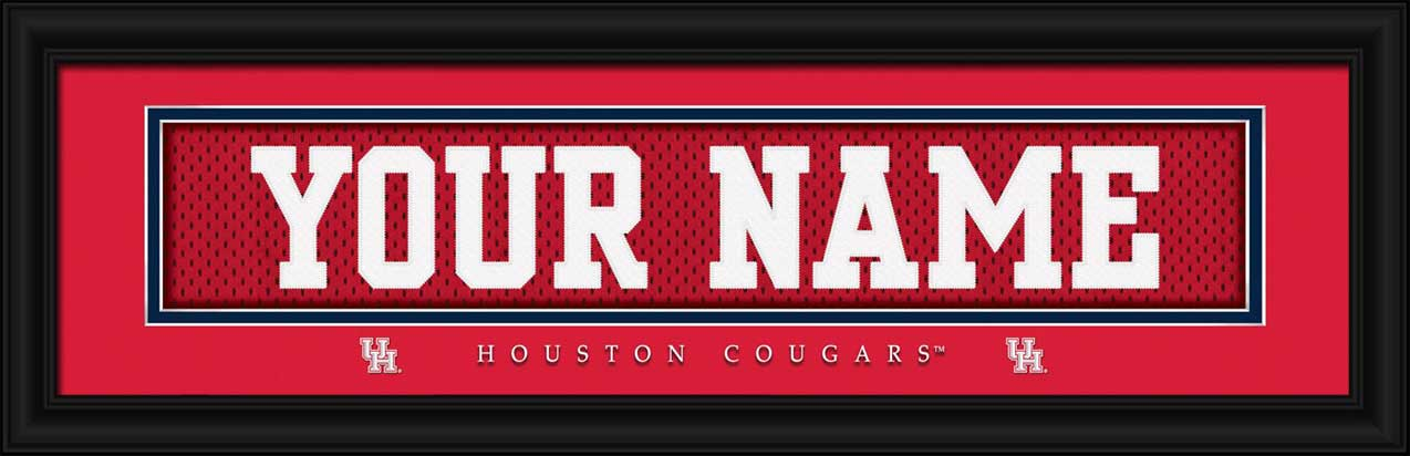 College - Houston Cougars - Personalized Jersey Nameplate - Framed Picture
