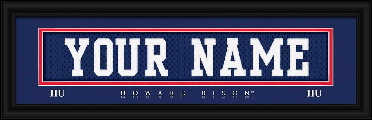 College - Howard Bison - Personalized Jersey Nameplate - Framed Picture