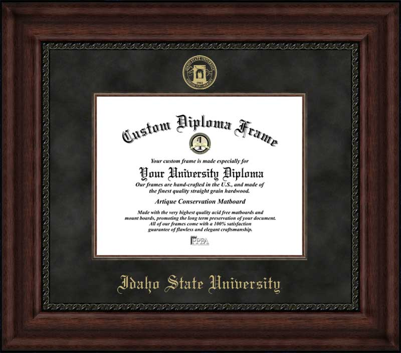 College - Idaho State University Bengals - Embossed Seal - Suede Mat - Mahogany - Diploma Frame