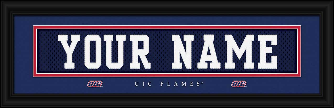 College - Illinois Chicago Flames - Personalized Jersey Nameplate - Framed Picture