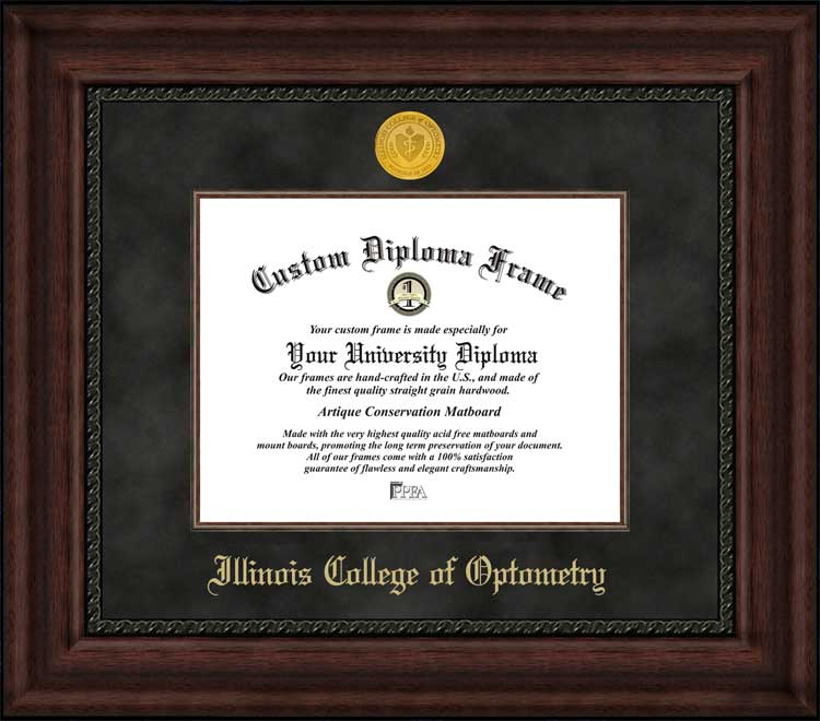 College - Illinois College of Optometry  - Gold Medallion - Suede Mat - Mahogany - Diploma Frame