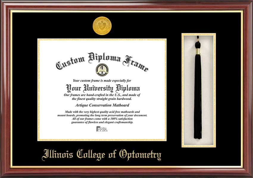 College - Illinois College of Optometry  - Gold Medallion - Tassel Box - Mahogany - Diploma Frame