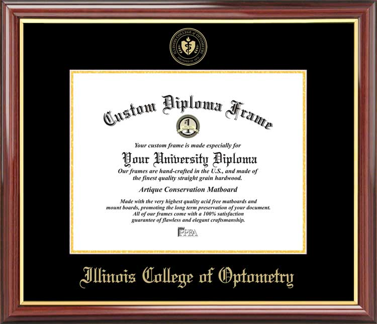 College - Illinois College of Optometry  - Embossed Seal - Mahogany Gold Trim - Diploma Frame