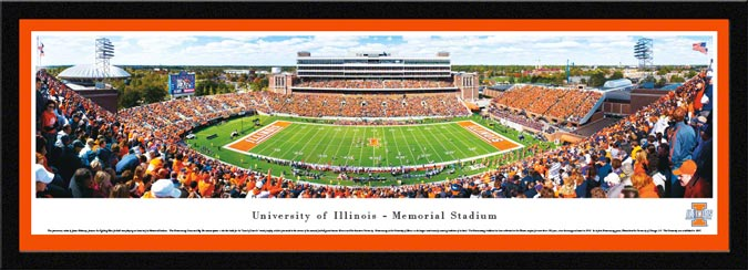 College - Illinois Fighting Illini - Memorial Stadium - Framed Picture