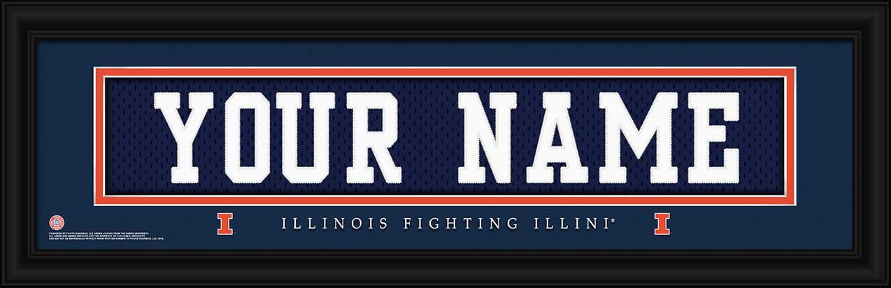 College - Illinois Fighting Illini - Personalized Jersey Nameplate - Framed Picture