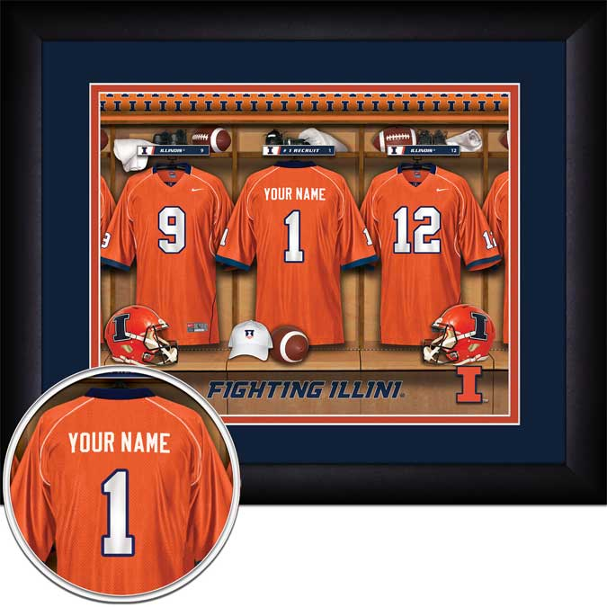 College - Illinois Fighting Illini - Personalized Locker Room - Framed Picture