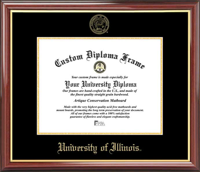 College - University of Illinois Fighting Illini - Embossed Seal - Mahogany Gold Trim - Diploma Frame