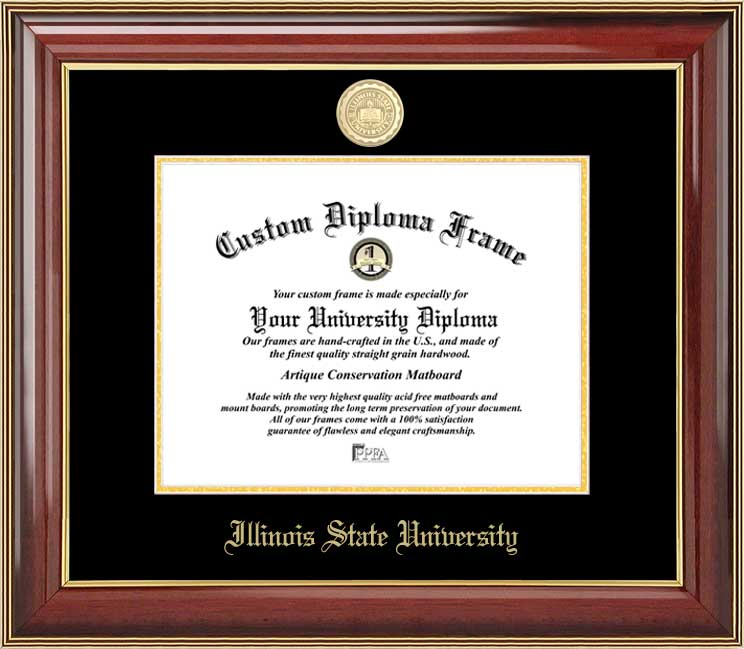 College - Illinois State University Redbirds - Gold Medallion - Mahogany Gold Trim - Diploma Frame