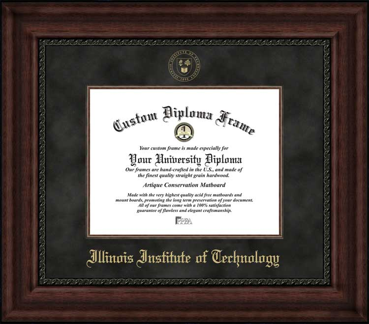 College - Illinois Institute of Technology Scarlet Hawks - Embossed Seal - Suede Mat - Mahogany - Diploma Frame