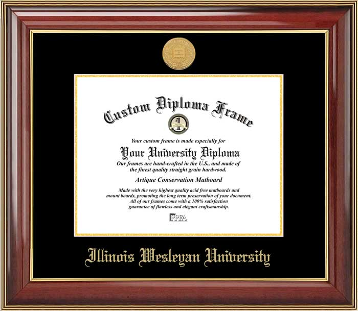 College - Illinois Wesleyan University Titans - Gold Medallion - Mahogany Gold Trim - Diploma Frame