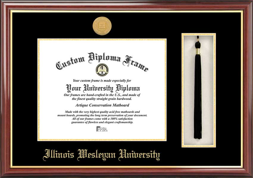 College - Illinois Wesleyan University Titans - Gold Medallion - Tassel Box - Mahogany - Diploma Frame