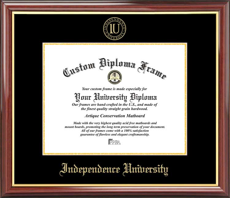 College - Independence University  - Embossed Seal - Mahogany Gold Trim - Diploma Frame
