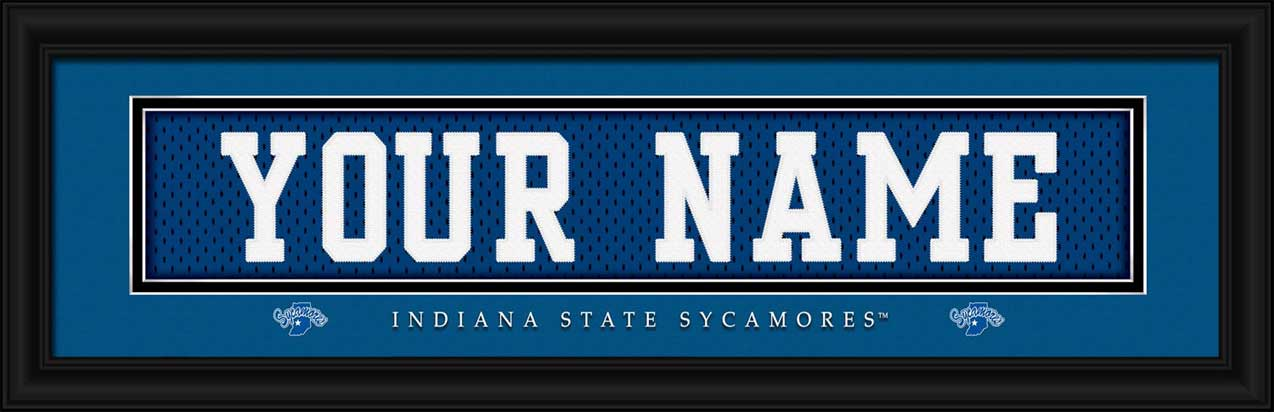 College - Indiana State Sycamores - Personalized Jersey Nameplate - Framed Picture