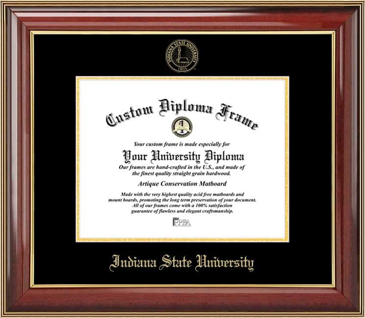 College - Indiana State University Sycamores - Embossed Seal - Mahogany Gold Trim - Diploma Frame