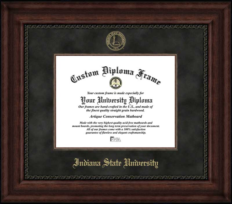 College - Indiana State University Sycamores - Embossed Seal - Suede Mat - Mahogany - Diploma Frame