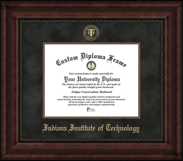College - Indiana Institute of Technology Warriors - Embossed Seal - Suede Mat - Mahogany - Diploma Frame