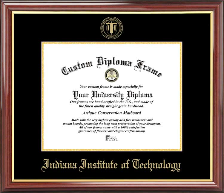 College - Indiana Institute of Technology Warriors - Embossed Seal - Mahogany Gold Trim - Diploma Frame