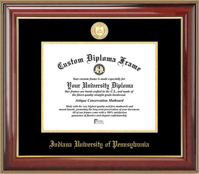 College - Indiana University of Pennsylvania Crimson Hawks - Gold Medallion - Mahogany Gold Trim - Diploma Frame
