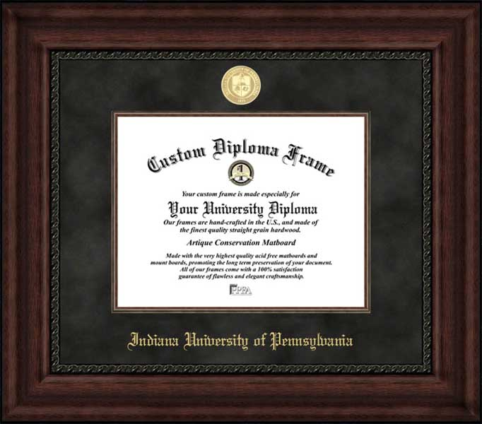 College - Indiana University of Pennsylvania Crimson Hawks - Gold Medallion - Suede Mat - Mahogany - Diploma Frame