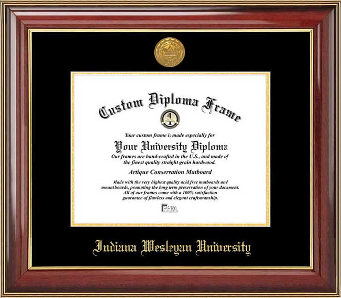 College - Indiana Wesleyan University Wildcats - Gold Medallion - Mahogany Gold Trim - Diploma Frame
