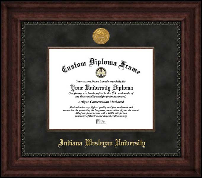 College - Indiana Wesleyan University Wildcats - Gold Medallion - Suede Mat - Mahogany - Diploma Frame
