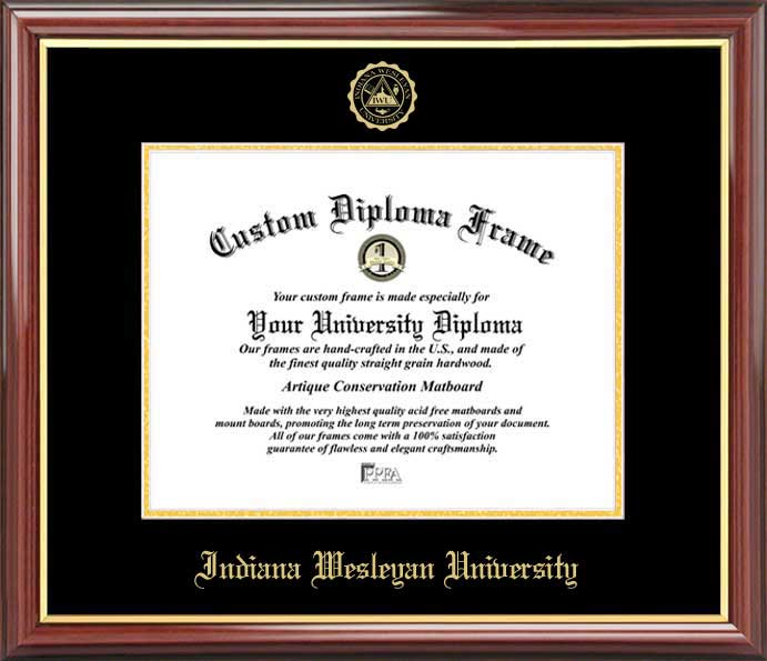College - Indiana Wesleyan University Wildcats - Embossed Seal - Mahogany Gold Trim - Diploma Frame