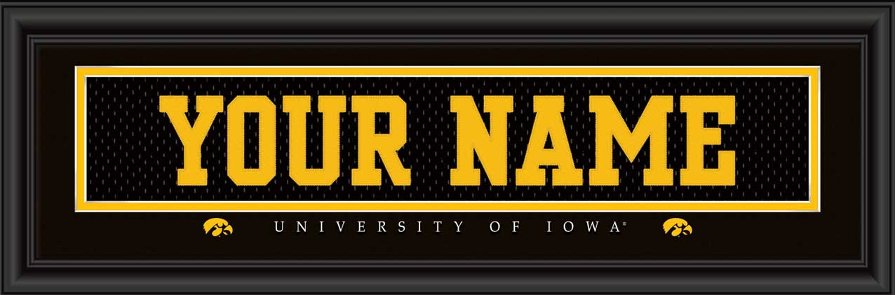 College - Iowa Hawkeyes - Personalized Jersey Nameplate - Framed Picture