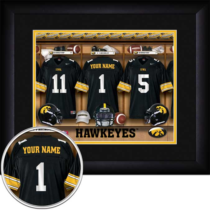 College - Iowa Hawkeyes - Personalized Locker Room - Framed Picture