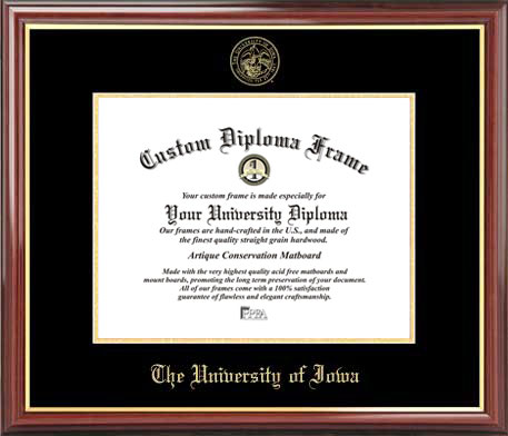 College - University of Iowa Hawkeyes - Embossed Seal - Mahogany Gold Trim - Diploma Frame