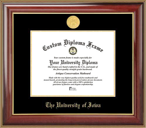 College - University of Iowa Hawkeyes - Gold Medallion - Mahogany Gold Trim - Diploma Frame