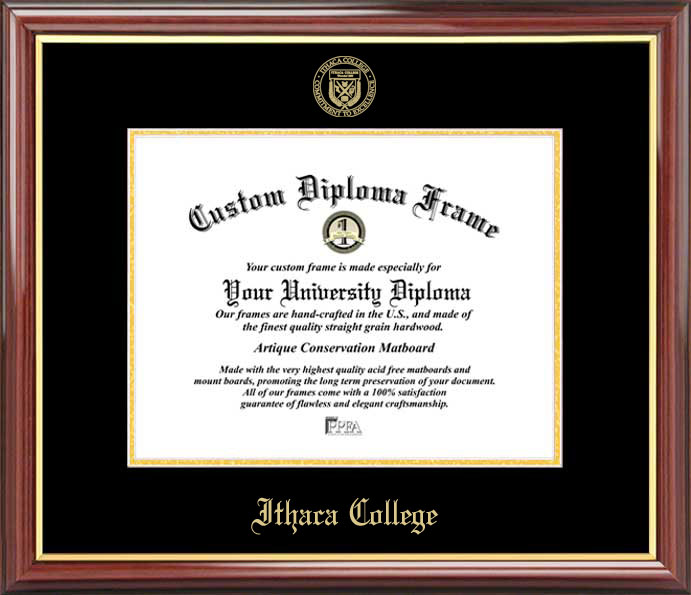 College - Ithaca College Bombers - Embossed Seal - Mahogany Gold Trim - Diploma Frame