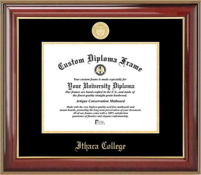 College - Ithaca College Bombers - Gold Medallion - Mahogany Gold Trim - Diploma Frame