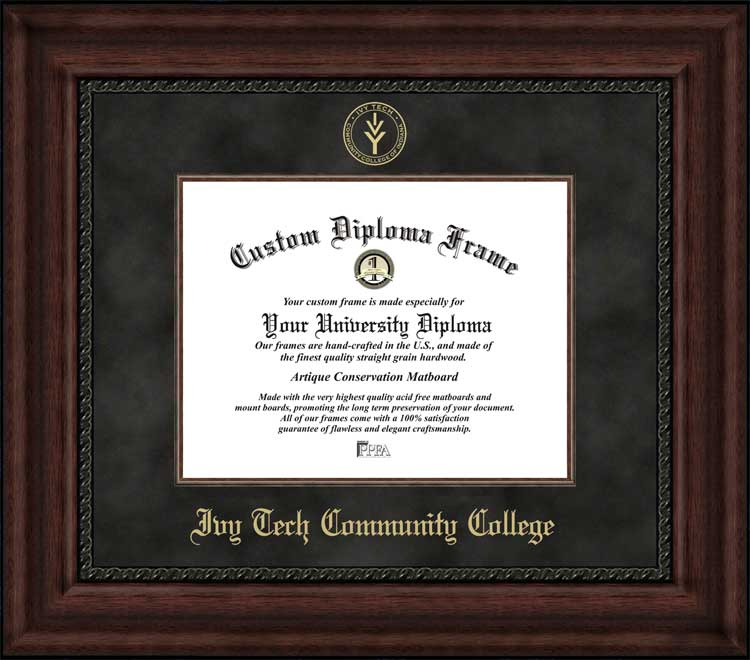 College - Ivy Tech Community College  - Embossed Seal - Suede Mat - Mahogany - Diploma Frame