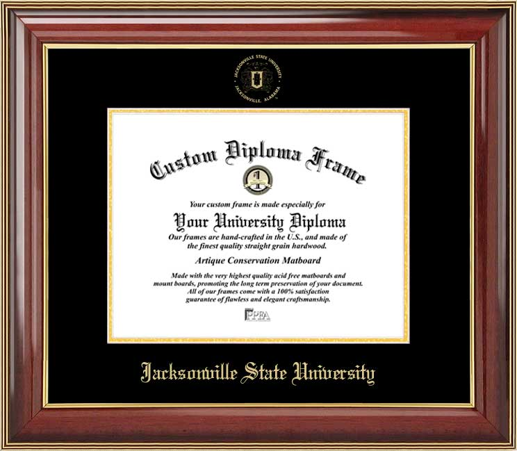 College - Jacksonville State University Gamecocks - Embossed Seal - Mahogany Gold Trim - Diploma Frame