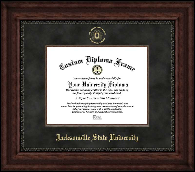College - Jacksonville State University Gamecocks - Embossed Seal - Suede Mat - Mahogany - Diploma Frame