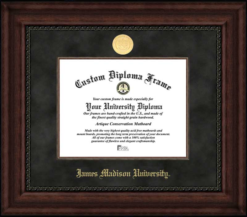 College - James Madison University Dukes - Gold Medallion - Suede Mat - Mahogany - Diploma Frame