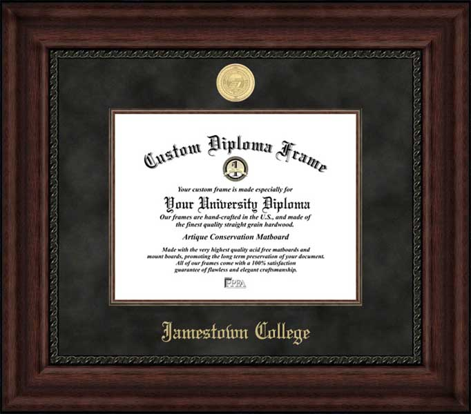 College - Jamestown College Jimmies - Gold Medallion - Suede Mat - Mahogany - Diploma Frame