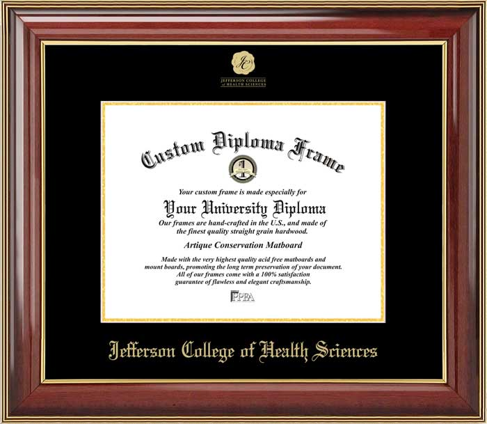 College - Jefferson College of Health Sciences  - Embossed Logo - Mahogany Gold Trim - Diploma Frame
