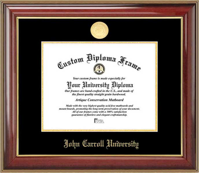 College - John Carroll University Blue Streaks - Gold Medallion - Mahogany Gold Trim - Diploma Frame