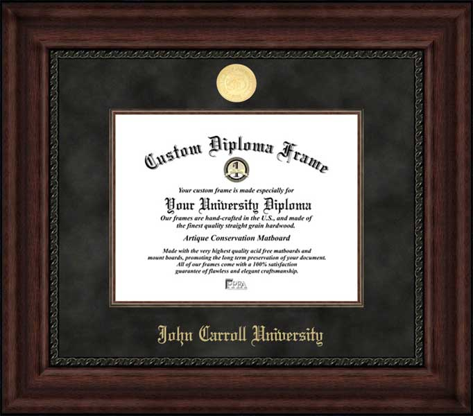 College - John Carroll University Blue Streaks - Gold Medallion - Suede Mat - Mahogany - Diploma Frame